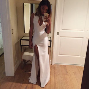 white Prom Dresses,side slit prom dress,charming prom Dress,formal prom dress,sexy prom gown,BD2411