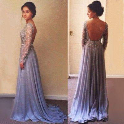 long sleeves Prom Dresses,backless prom dress,charming prom Dress,modest prom dress,beaded prom gown,BD2412