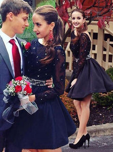 little black dress,short Prom Dress,long sleeves prom dress,party dress for teens,mini evening dress,BD2708