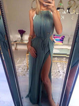 dusty blue Prom Dresses,chiffon prom dress,side slit prom Dress,long prom dress,sexy evening gown,BD2422
