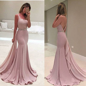 long prom dress,one shoulder prom dress,dusty pink prom dress,mermaid prom dress,BD2624