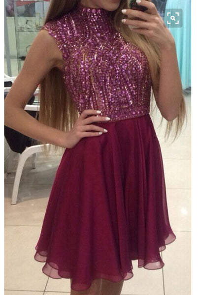 Burgundy prom dress,Short Prom Dresses,Shinny Homecoming Dresses,Sparkly Cocktail dresses,Mini Dress for Formal Party,BD901