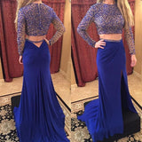 Two Pieces Prom Dresses,Long Sleeve Prom Dress,Leg Slit Prom Dresses,Uniques Prom Dress,Cheap Prom Dress,PD00101