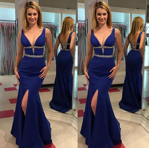 Sexy Prom Dresses,Deep V-neck Prom Dress,Mermaid Prom Dress,Leg Slit Prom Dress,Crystal Prom Dress,PD0035