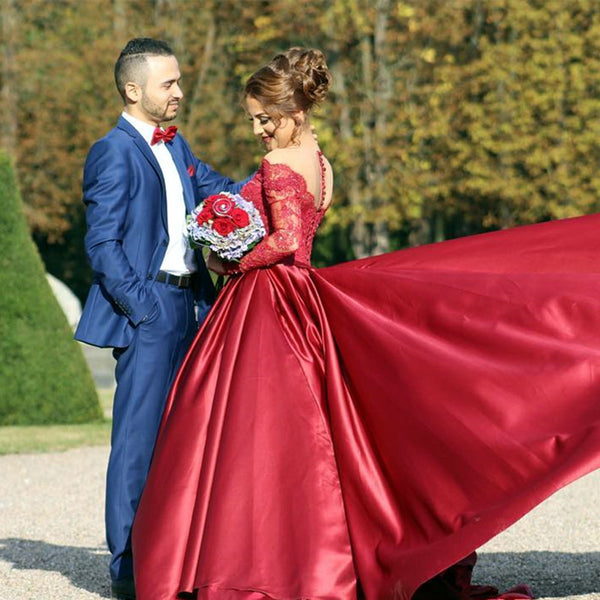 Satin Prom Dresses,A-line Prom Dress,Long Sleeve Prom Dress,Gorgeous Prom Dress,Deep V-neck Prom Dress,PD0032