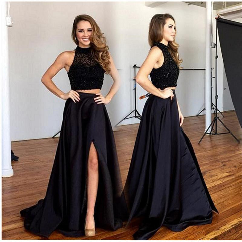 Two Pieces Prom Dresses,Beading Prom Dress,Leg Slit Prom Dress,Satin Prom Dress,High Quality Prom Dress,PD0023