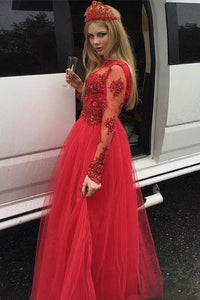 Tulle Red Prom Dress with Beading, Long Sleeve Appliques Prom Gown,PD4558902