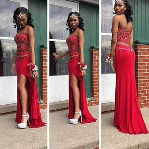 89778bbb27 Two Pieces Prom Dresses, Red Prom Dress,Off-shoulder Prom Dresses,Leg