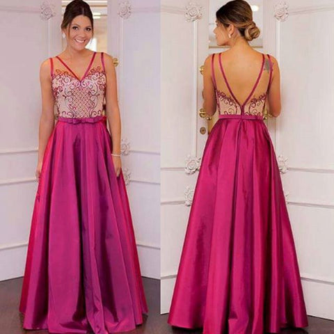 chic hot pink satin A-line v-neck long prom dress,HO137