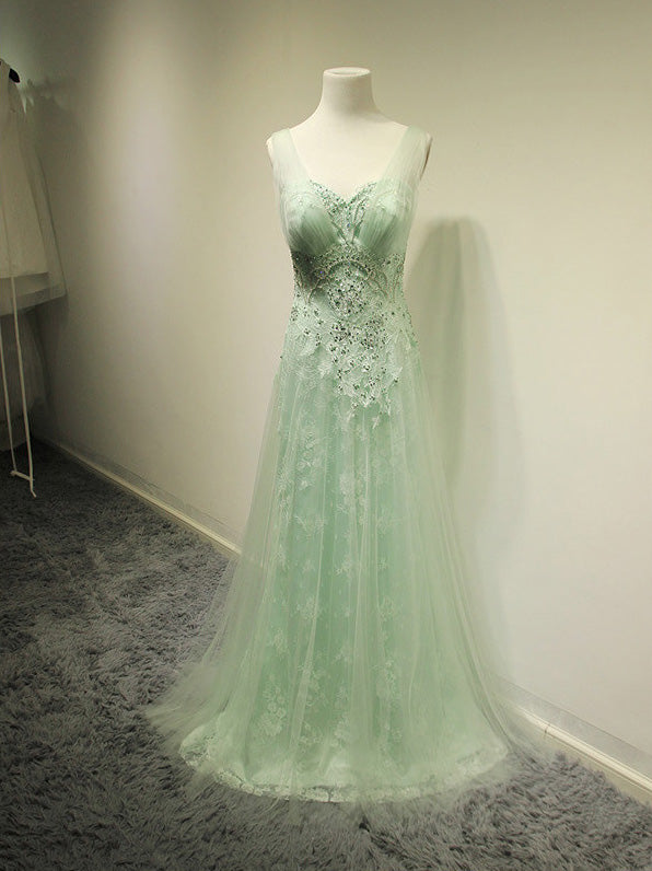 Mint Green Prom Dresses,2016 Evening Dresses,New Fashion Prom Gowns,Elegant Prom Dress,Lace Prom Dresses,PD455849