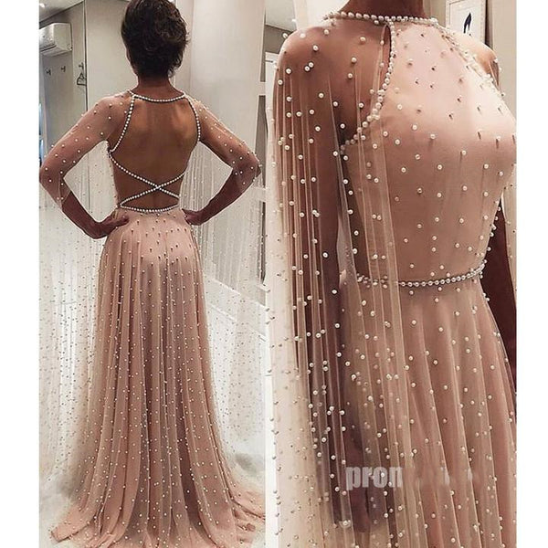 Beaded Dusty Pink Long Sleeves Long Chic Prom Dress, BO18