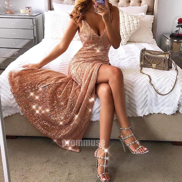 Rose Gold Sequin Dazzling Sexy Side Slit Long Prom Dresses,PO34