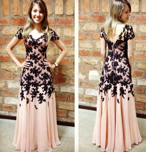 modest short sleeves blush pink with black lace appliques long prom dress,HO138