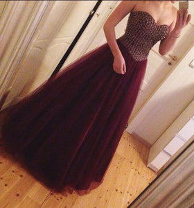 burgundy tulle sweetheart beaded long princess prom dress,HO139