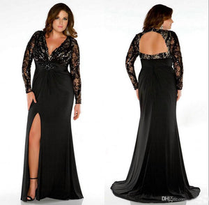 black Prom Dresses,long prom dress,long sleeves prom Dress,side slit prom dress,plus size evening dress,BD2983