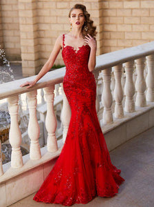 Red Prom Dresses,Mermaid Evening Dress,Fitted Prom Dress,Gorgeous Prom Dress,072603