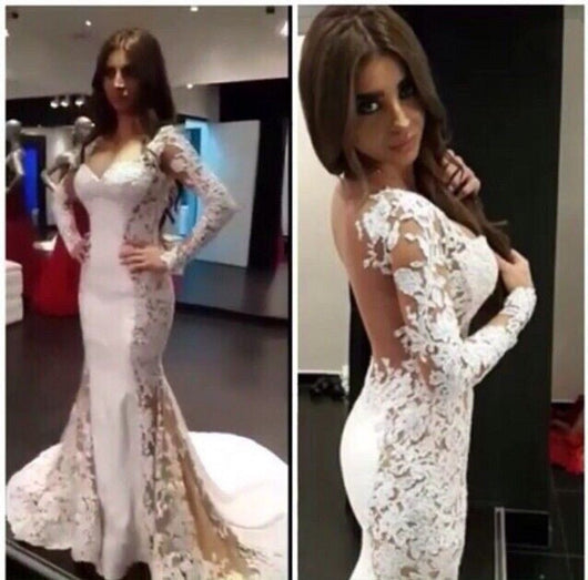 Long Sleeve Prom Dresses,Lace Appliques Prom Dress,Charming Prom Dresses,Mermaid Prom Dress,Cheap Prom Dresses,PD00165