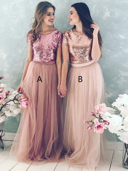 Sequined Tulle Bridesmaid Dress,Long Bridesmaid Dress,Bridesmaid Dress with Short Sleeves,072601