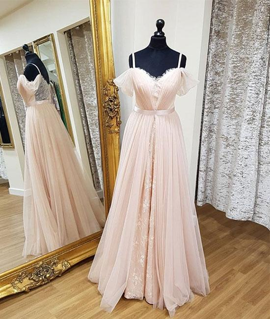 Pink Sweetheart Neck Tulle Long Prom Dresses, Pink Evening Dresses,PD4558950