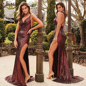 Burgundy Sequin Charming Long Prom Dresses,Formal Mermaid Prom Dress,HD200
