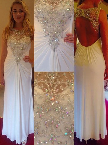 white prom Dress,charming Prom Dress,long prom dress,backless prom dress,evening dress,BD663