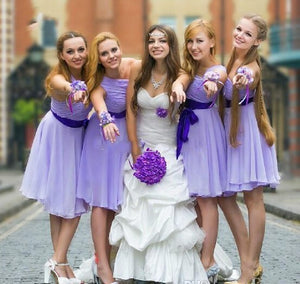 lavender bridesmaid dress,short bridesmaid dress,one shoulder bridesmaid dress,cheap bridesmaid dress,BD1650