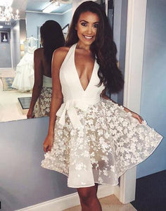 Cute v neck short prom dress, white homecoming dress,081601