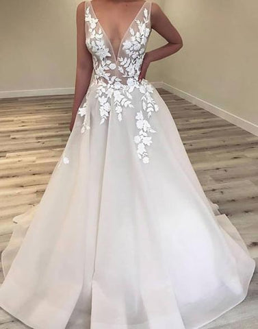 popular v-neck A-line long prom dress with appliques cheap wedding dress,HO192