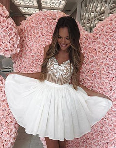 29e1cad5d78 Cute sweetheart neck lace short prom dress