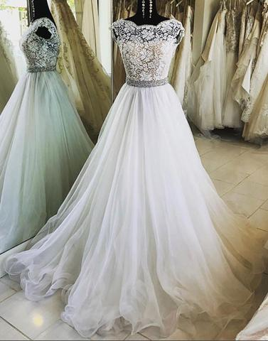 White lace tulle long prom dress, evening dress