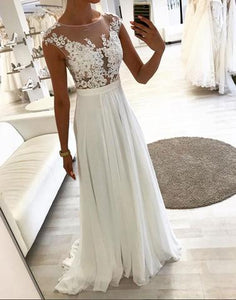 White lace chiffon long prom dresses, white evening dresses,072508