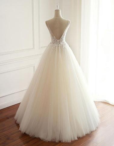 White v neck lace tulle long prom dress, evening dress,072501