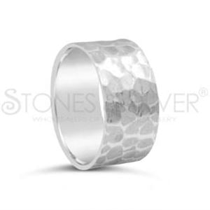 Beaten Band Ring Sterling Silver