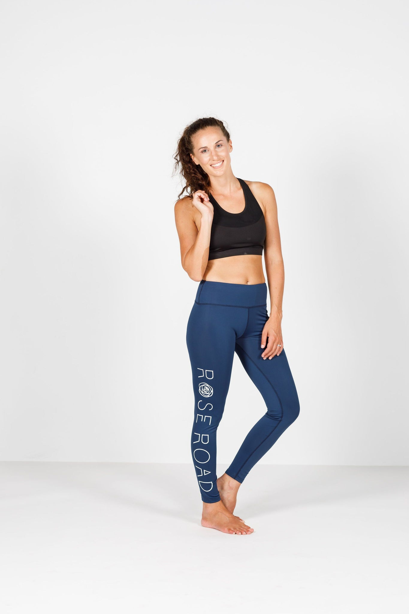Full Length Leggings With Logo Navy