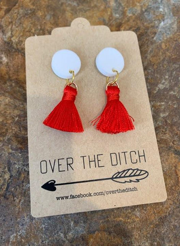 Over The Ditch Earrings - Mini Red Tassels