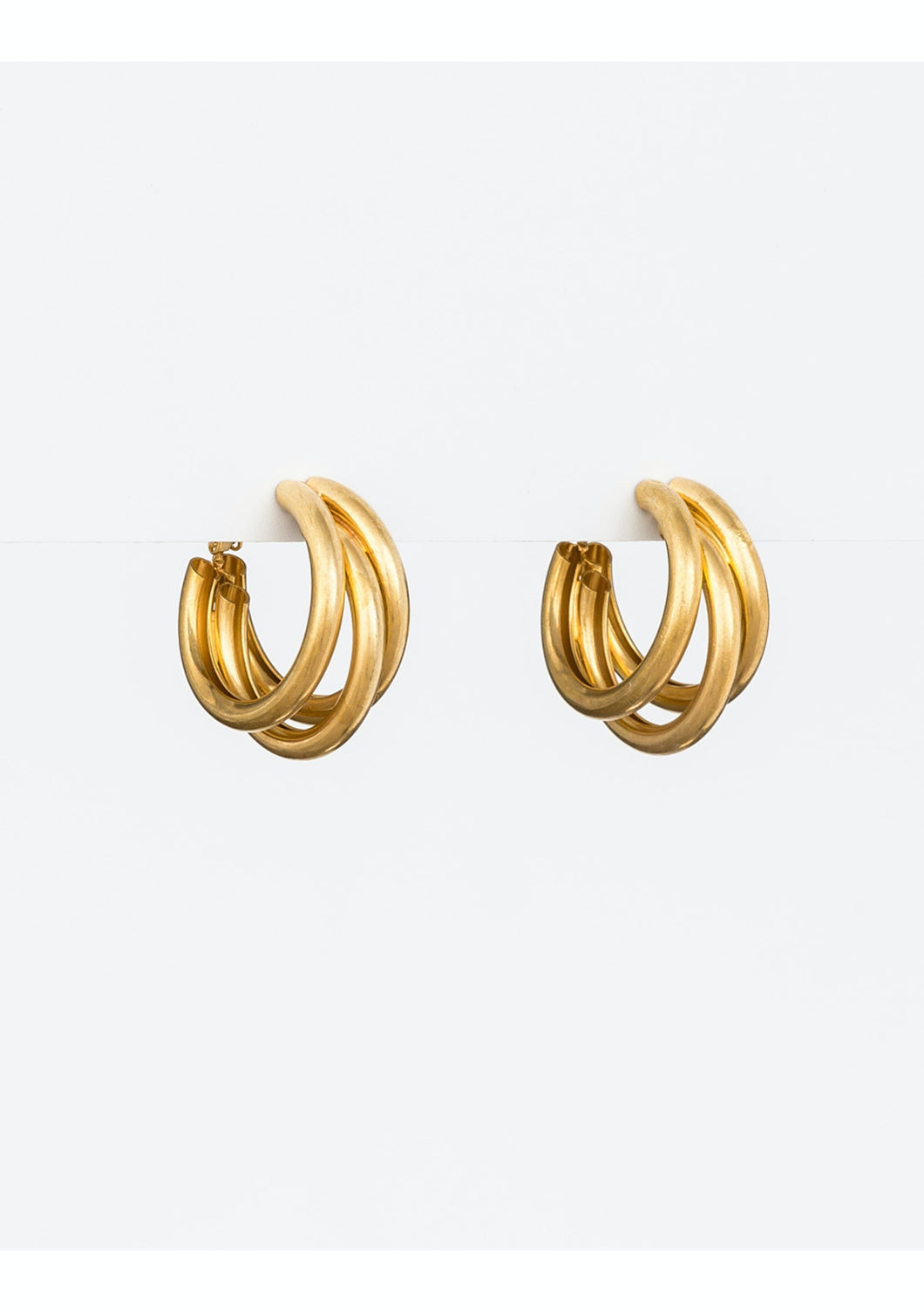 Worn Gold Tri Hoop Earrings
