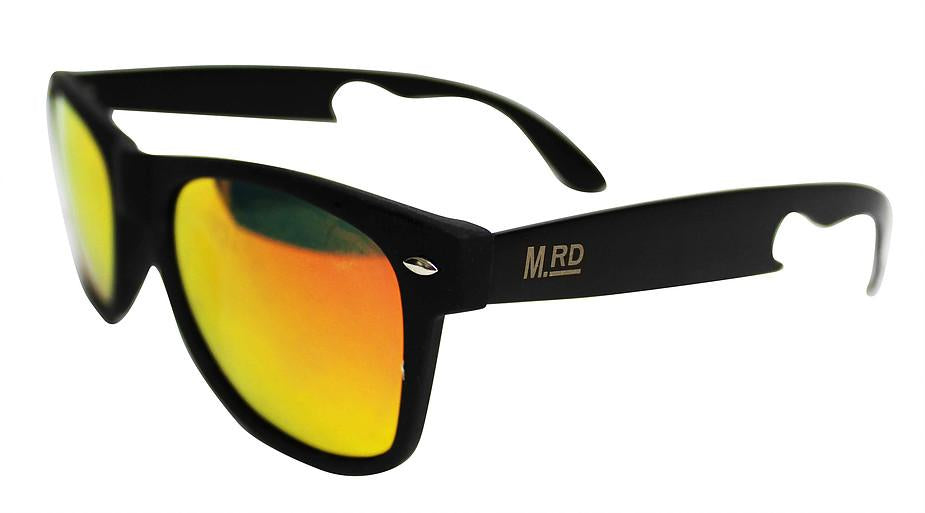 Bottle Opening Sunnies - Black With Red and Yellow Lens