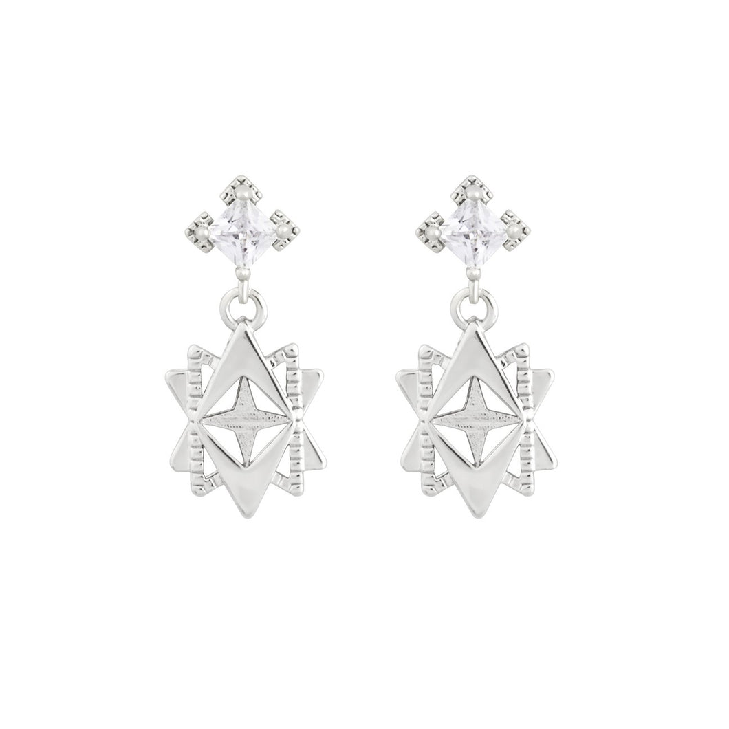 A Dusting of Jewels  Baroque Star Earrings Silver