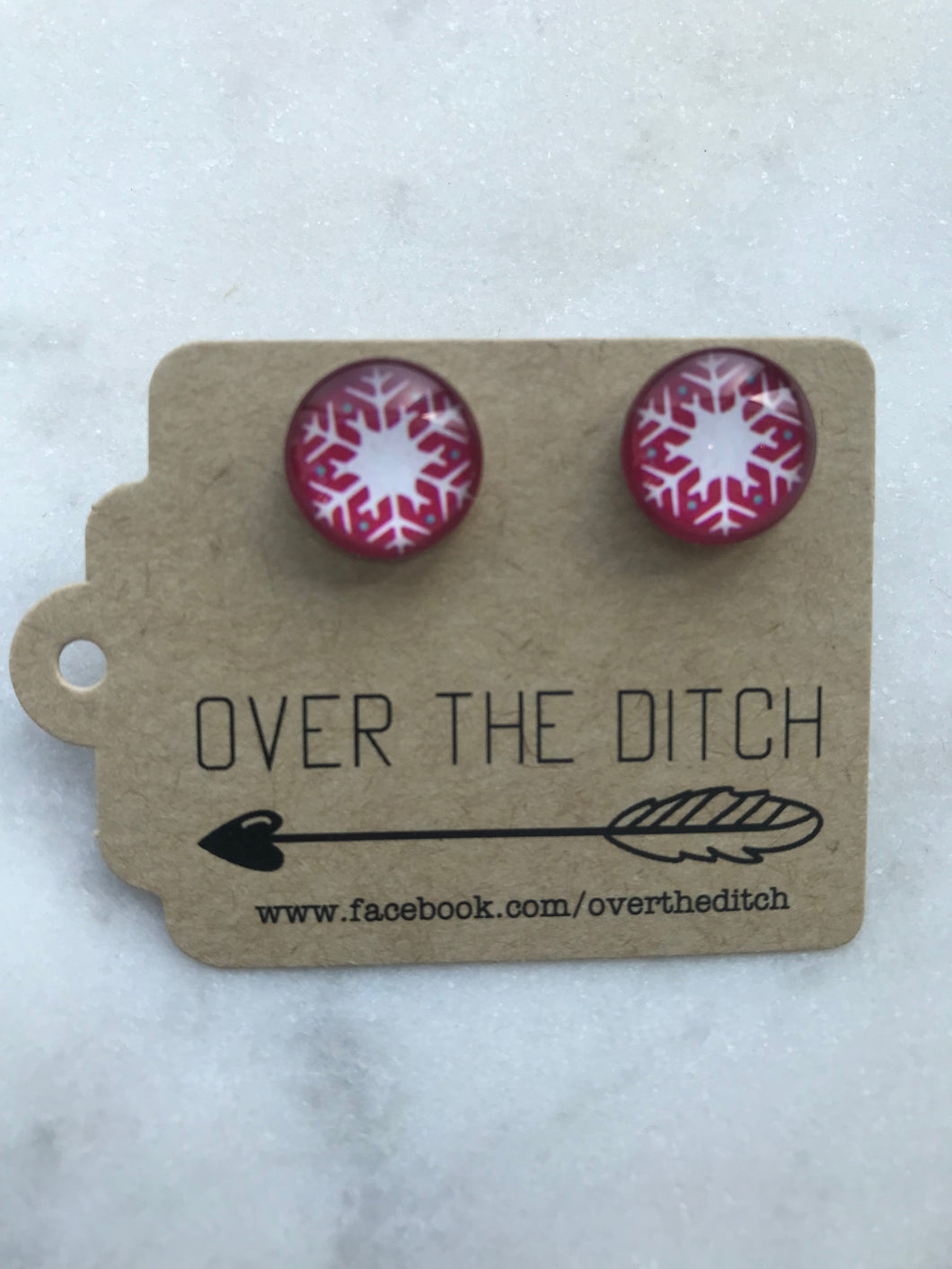 Over The Ditch Earrings - Red Snow Flake