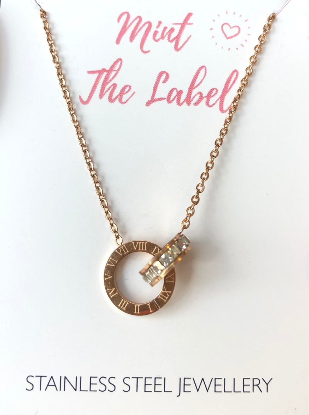 Linked In Time Necklace Rose Gold
