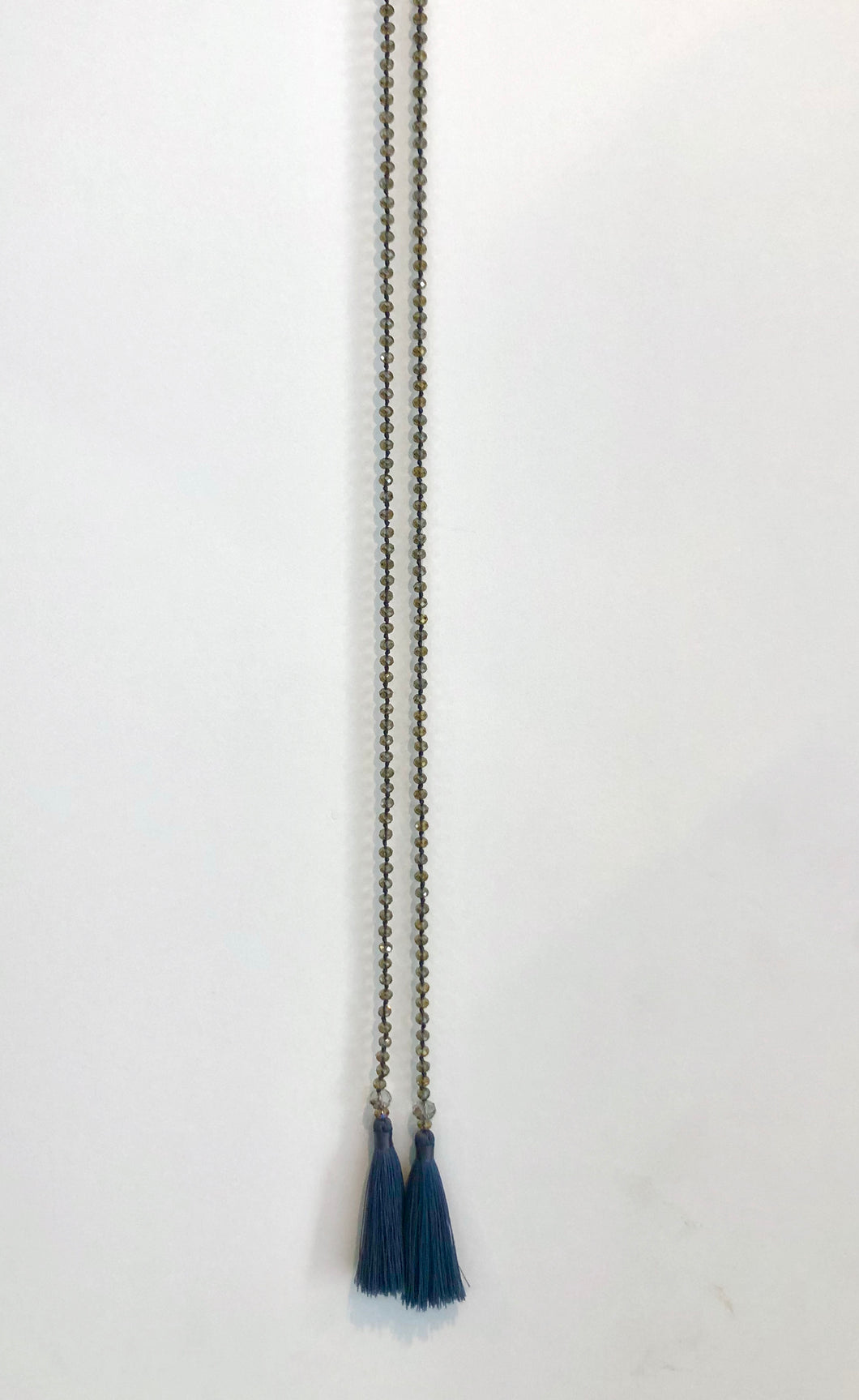 Clear Beige Crystal Beaded Split Necklace With grey Tassels