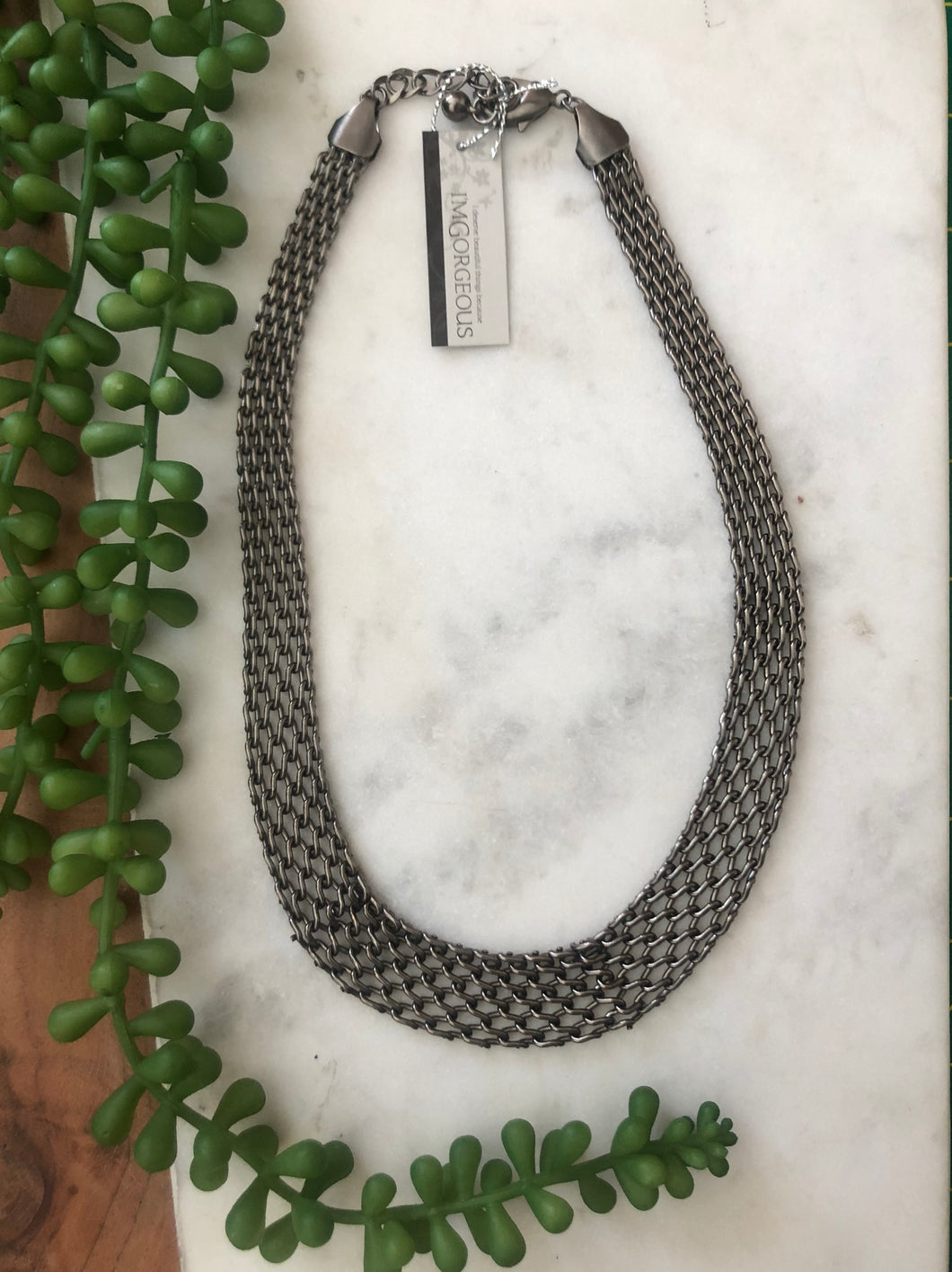 Luna Chainmail Necklace Gunmetal