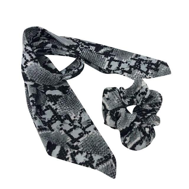 Steely Blue Snake Print Scrunchie Scarf
