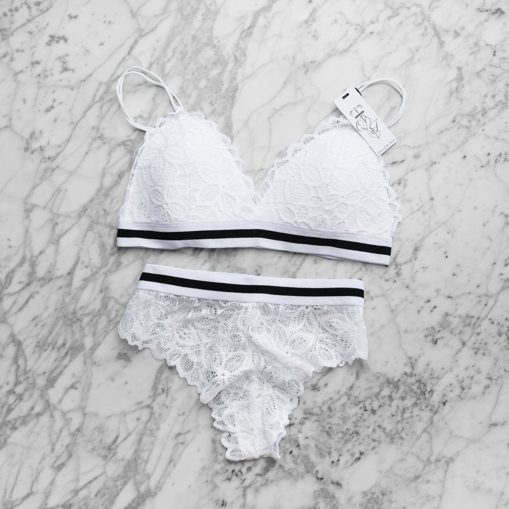 Stripe Bralette Set White