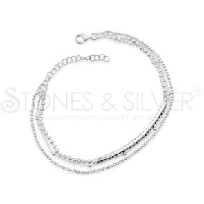 Sterling Silver Monaco Coll Layer With Black Cz Bracelet