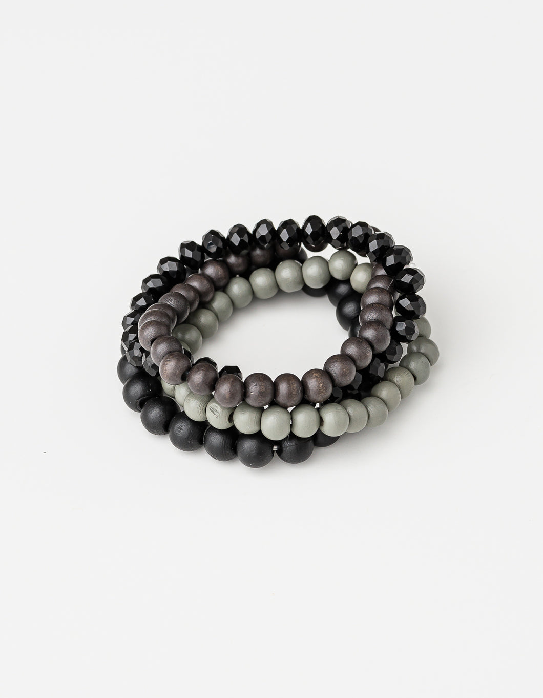 Grey/Black Bead Bracelets- Set of 4