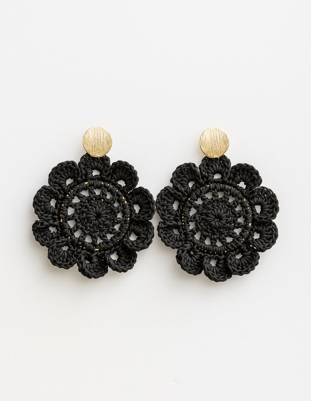 Crochet Flower Black Earrings