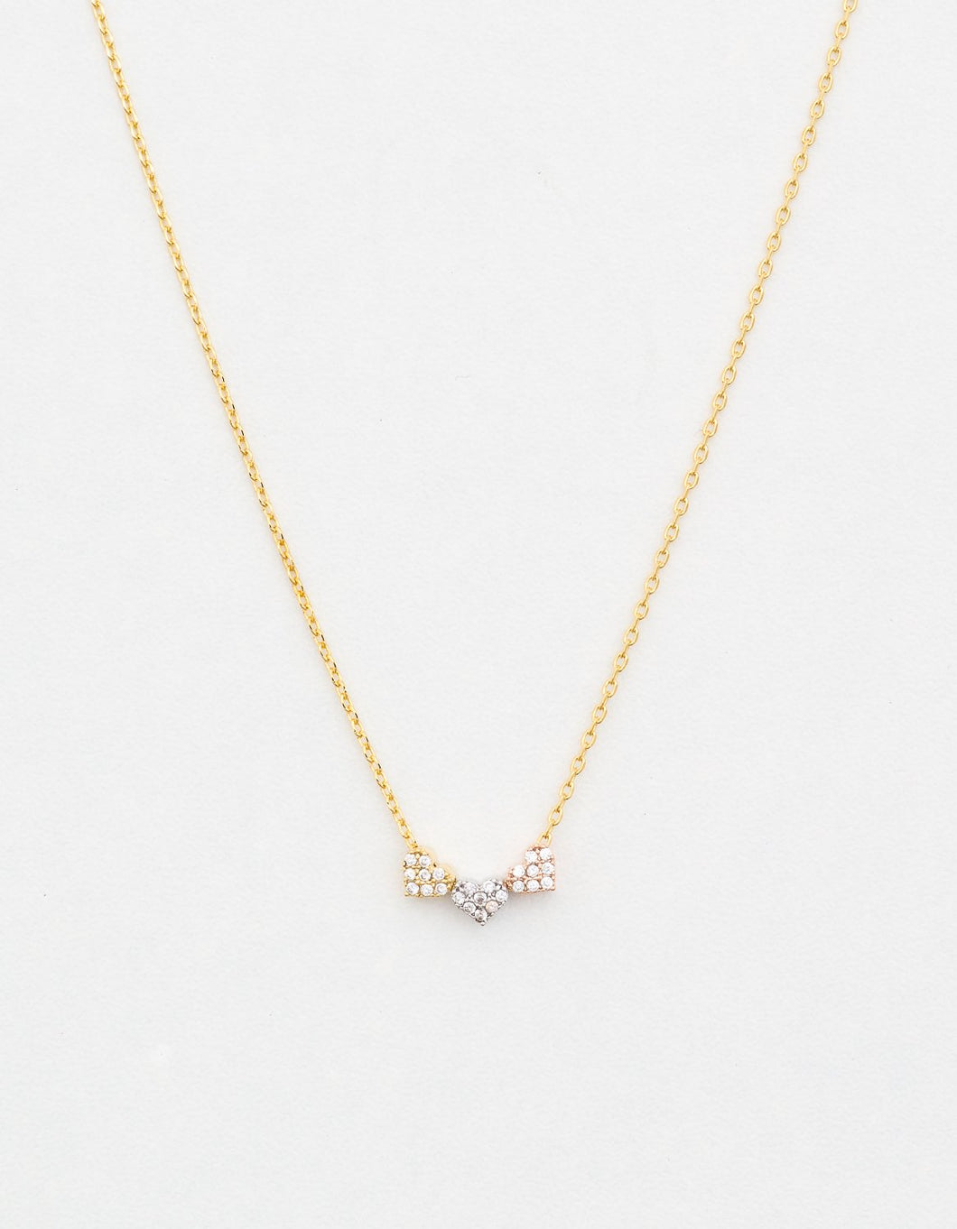 Heart Diamontes Gold Necklace