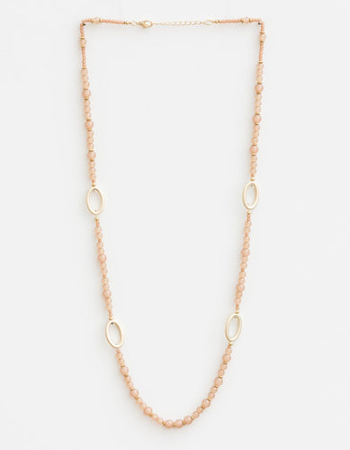 Jelly Beige w/ Gold Ovals Necklace
