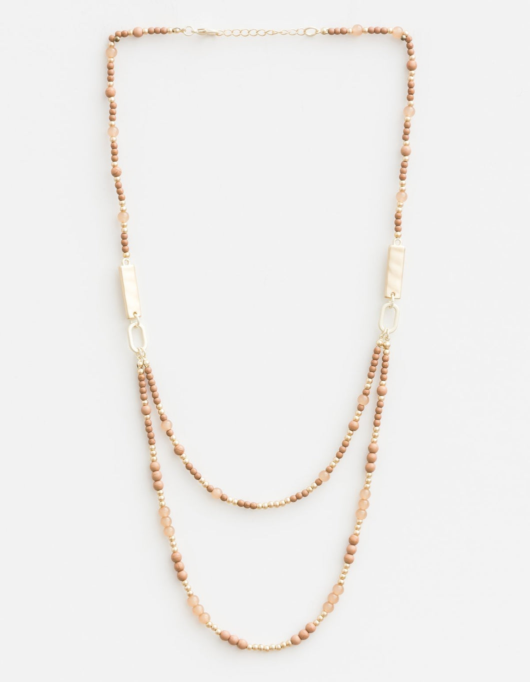 Mixed Taupes Matt Gold Necklace